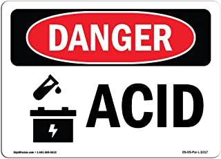 OSHA Danger Sign - Acid | Rigid Plastic Sign | Protect Your Business, Construction Site, Warehouse & Shop Area |  Made in The USA