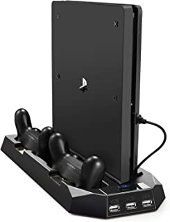 PECHAM Vertical Stand for PS4 Slim / PS4 with Cooling Fan, for Playstation 4/Slim..