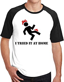 I Tried It At Home Popular Soft Cotton Mens Raglan T Shirt