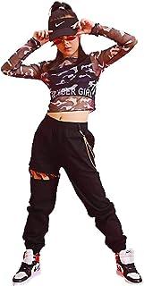 TRVELBETT キッズダンス ダンス衣装 ヒップホップ ジャッズ 女の子 2点セット パンツ セットアップ ヘソ出し 迷彩 シャツ パンツ 長袖 ロングパンツ ジャッズ 韓国風 ヒップホップ ストリート 上下 ダンスウェア ジュニア (迷彩トップス+タンクトップス+パンツ, 130)