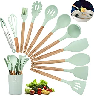 Silicone Cooking Utensil Kitchen Utensils Set, 12 Pieces Silicone Kitchen Utensil Wooden Handles, Kitchen Spatula Sets with Holder Spoon Turner Tongs,Mint Green