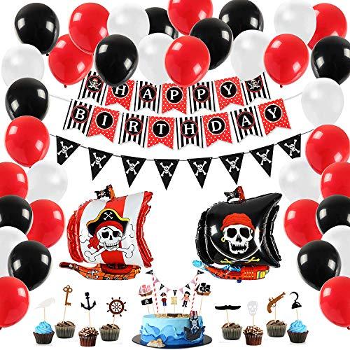 Tacobear Piraten Party Geburtstag Deko Piraten Kindergeburtstag Geburtstagsfeier Dekorationen mit Piraten Luftballons Cupcake Topper Piratengirlande für Kinder Jungen