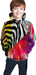 Cyloten Kid's Sweatshirt Zebra Remix Painted Pullover Hoody Teen's Breathable Long Sleeve Sports Hoodies