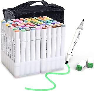マーカーペン80色セット[2019年版]、2種類のペン先 コミック用 プレゼント用 塗り絵、描画、落書き、学習用 アートマーカー キャリングケース付き,ペンスタンド ホワイト ライナーペン 付き イラストマーカー アルコールマーカー 建築