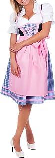 Edelnice Trachtenmode Mini Dirndl 3-TLG. blau kariert rosa Borte inkl. passender Bluse und Schürze Gr. 32-52