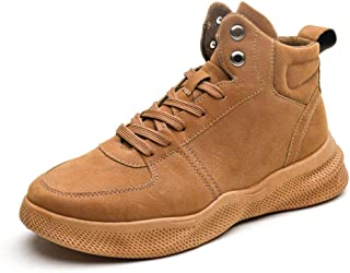 Men's Shoes-Ankle Boots for Men Sport Casual Shoes Lace up Round Toe Faux Suede Solid Colour Thick Bottom Soft Fleece Lining Vegan Anti-Slip Leisure (Color : Beige, Size : 40 EU)