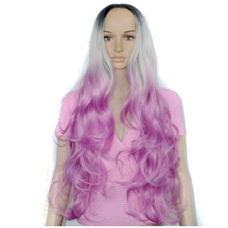 信仰円形の不確実Koloeplf 女性 コスプレ ウィッグ ナチュラル ミディアム 長い 巻き髪 ウィッグ カラー グラデーション アニメ (Color : Color gradient)