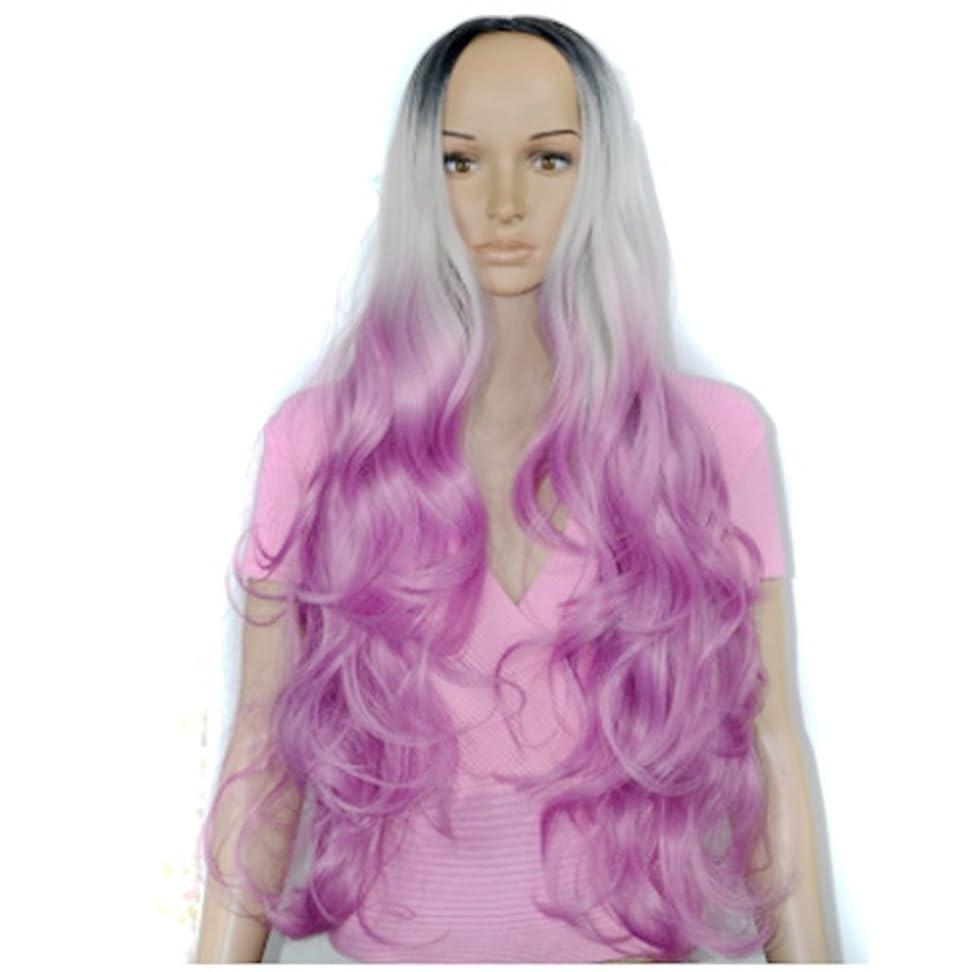 絶望敬礼ワイプJIANFU 女性 コスプレ ウィッグ ナチュラル ミディアム 長い 巻き髪 ウィッグ カラー グラデーション アニメ (Color : Color gradient)