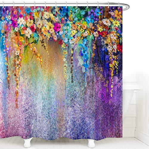 Watercolor Flower Shower Curtain for Spring Bathroom Set, Abstract Purple Weeping Flower Wisteria Blurred Painting Shower Curtain, Colorful Fabric Bathroom Bath Curtain with Hooks, 72 x 72 Inch