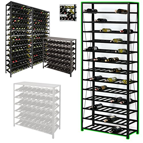 Weinregal/Flaschenregal BLACK PURE, für 195 Flaschen, Metall schwarz pulverbeschichtet, erweiterbar...