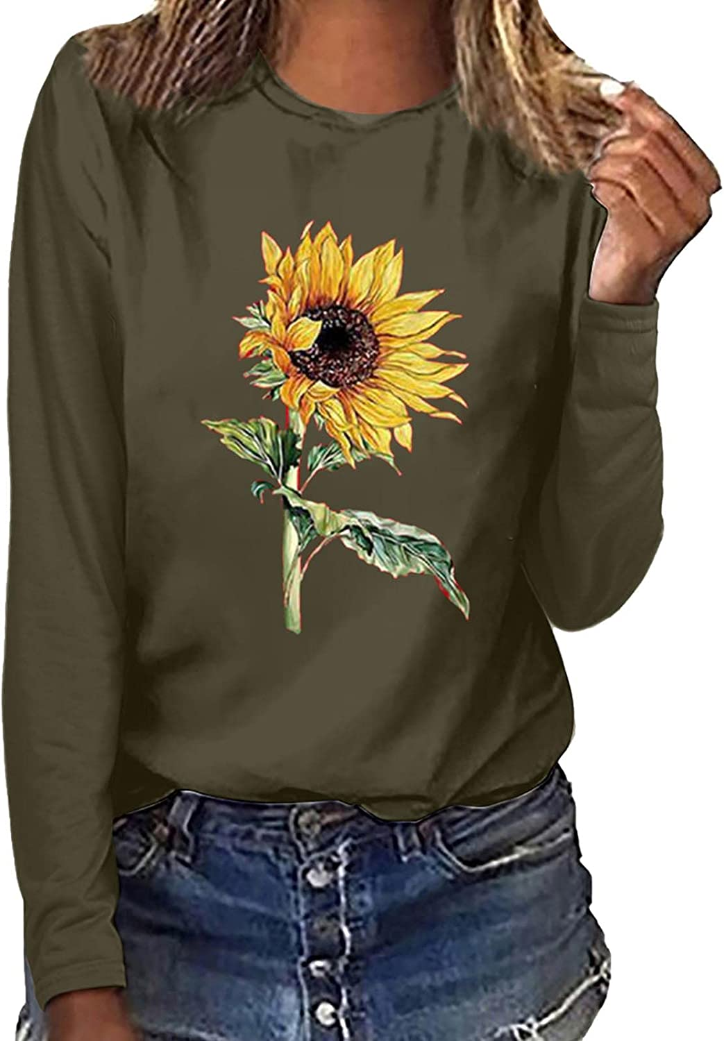 Women's Long Sleeve Tshirts Casual Sunflower Printing Graphics Tee Tops Loose Pullover Sweatshirt Blouse