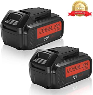 2Pack 6.0Ah Replacement Battery for Dewalt 20 Volt MAX Lithium Ion Premium XR Battery DCB205 DCB200 DCB206 DCB206-2 DCB204 DCB204BT-2 DCB203 DCB201