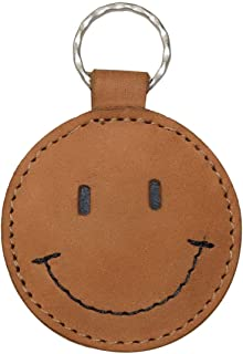 Hide & Drink, Leather Smiley Face Keychain/Key Ring/Holder/Cute Gifts/Accessories, Handmade Includes 101 Year Warranty :: Old Tobacco