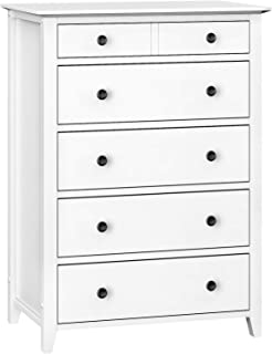 VASAGLE Chest of Drawers, 5-Drawer Dresser with Solid Wood Frame, Storage Unit for The Bedroom, Living Room, Kid's Room, with Antique-Style Handles, Easy Installation, White