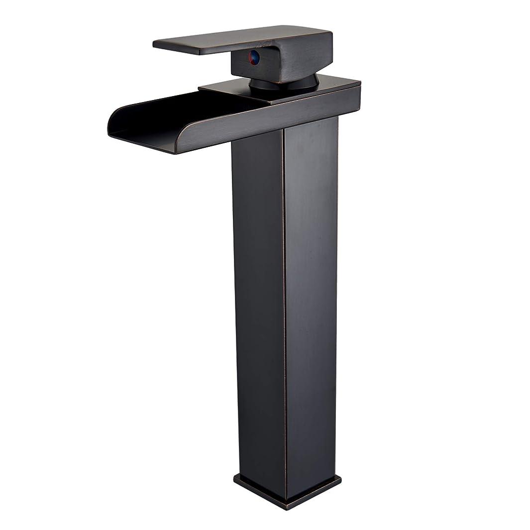 Senlesen Deck Mount Commercial Waterfall Spout Single Handle One Hole Vessel Sink Bathroom Faucet Oil Rubbed Bronze