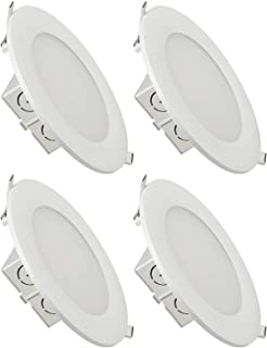 TORCHSTAR 6 Inch Slim Recessed Ceiling Light with Junction Box, 15W (100W Eqv.) Dimmable Airtight Downlight, 1000lm, UL & Energy Star Certified, 3000K Warm White, Pack of 4
