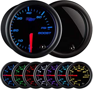 """GlowShift Tinted 7 Color 60 PSI Turbo Boost Gauge Kit - Includes Mechanical Hose & Fittings - Black Dial - Smoked Lens - For Diesel Trucks - 2-1/16"""" 52mm"""