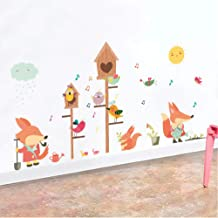 Wall Stickers Wall Art Stickers Nursery Wall Sticker, Jungle Wild Forest Animals Squirrel Birds Wall Stickers For Kids Rooms Cartoon Children Bedroom Decor Wall Decals Mural Art