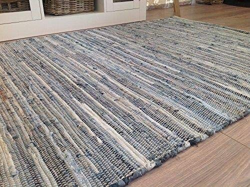 Second Nature Online Denim Extra Large Blue Cotton Rag Rug Hand Loomed with Recycled Materials