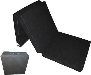 Natalia Spzoo El sillón de colchón Plegable para Invitados 180x80x10 cm con el Bolso Negro