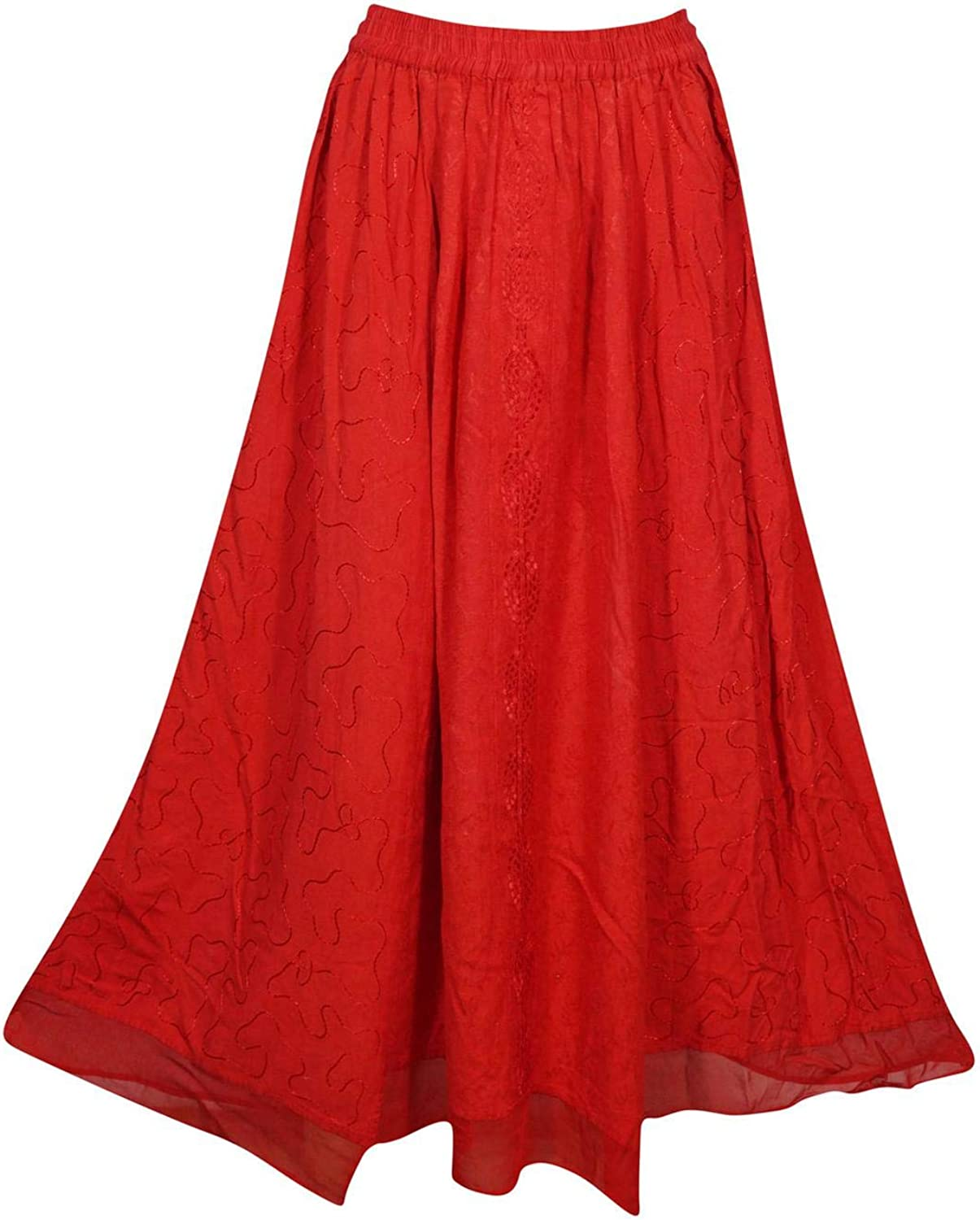 Indiatrendzs Women's Maxi Skirts Red Bohemian Embroidered Rayon Solid Casual Boho Long Skirt S/M