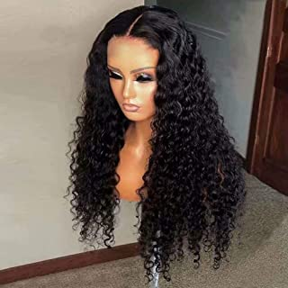 Jiduoyi Wig Deep Wave 13x6 HD Transparent Lace Front Human Hair Wig for Black Women Brazilian Virgin Hair with Baby Hair Pre Plucked Natural Color 150 Density 24 Inch