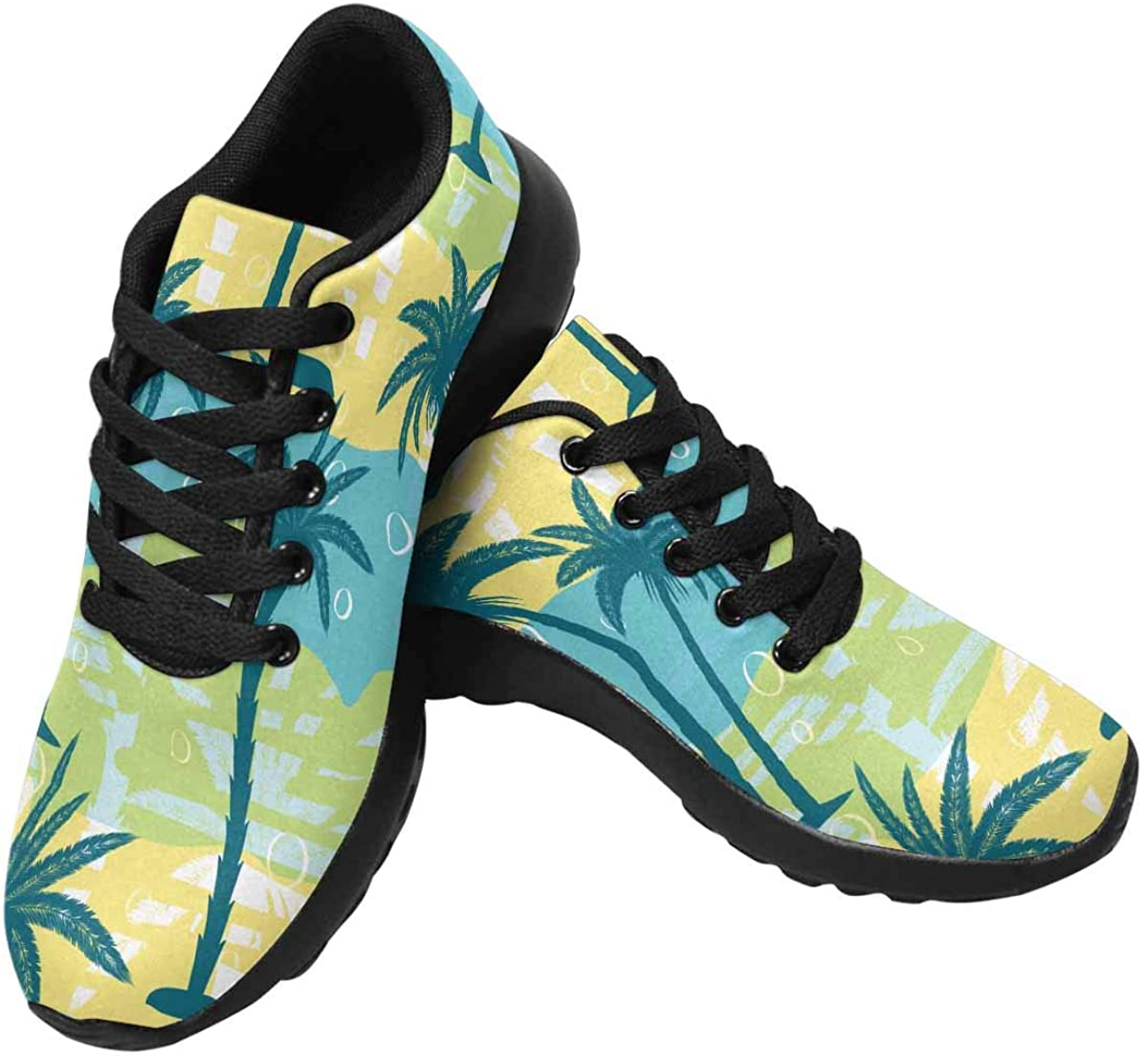 InterestPrint Palm Trees on Colorful Striped Background Womens Jogging Sneakers Outdoor Sport Cross Training Shoes