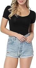 CINDYLOVER Bamboo Fiber T Shirt Classic Fitted Comfy Undershirt Short Sleeve (Black,XL)