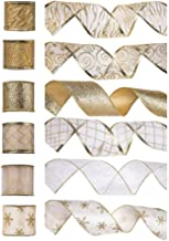 Christmas Wired Ribbon, Holiday Party Assorted Organza Swirl Sheer Glitter Tulle Crafts Gift Wrapping Ribbon Xmas Design Decorations, 36 Yards (2.5in Width x 6 Yard Each Roll) - White/Gold