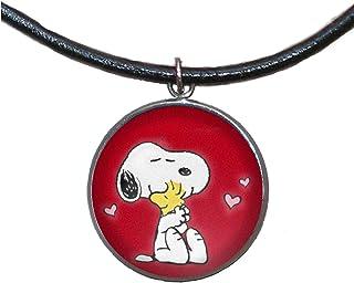 Ciondolo in acciaio inossidabile, 30mm, cordoncino di cuoio, fatto a mano, illustrazione Snoopy 2