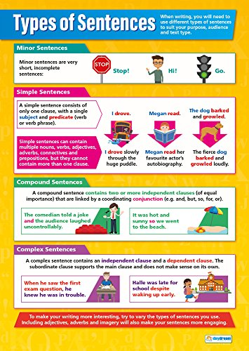 Types of Sentences   English Posters for Common Core State Standards (CCSS)   Laminated Gloss Paper 33� x 23.5�   Language Arts Classroom Posters   Education Charts by Daydream