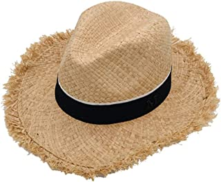 Cowboy Hats Classic Straw Hat Summer Sun Hats for Men Women 100% Handmade Raffia Straw Trilby Cap Beach Holiday Cool Adjustable Size,Suitable for Outdoor Hiking
