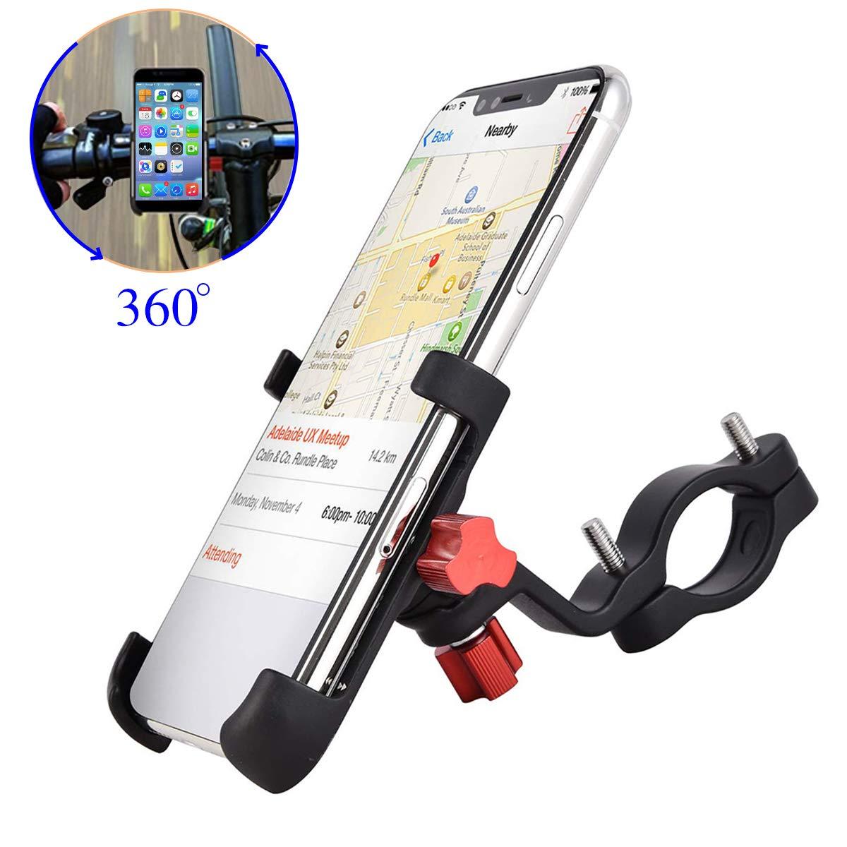 ENONEO Soporte Movil Bicicleta Montaña 360 Rotación Soporte Telefono Moto Universal Aleación de Aluminio Soporte Bici Movil para iPhone X XS MAX Samsung Huawei (Anchura 2.16-3.74