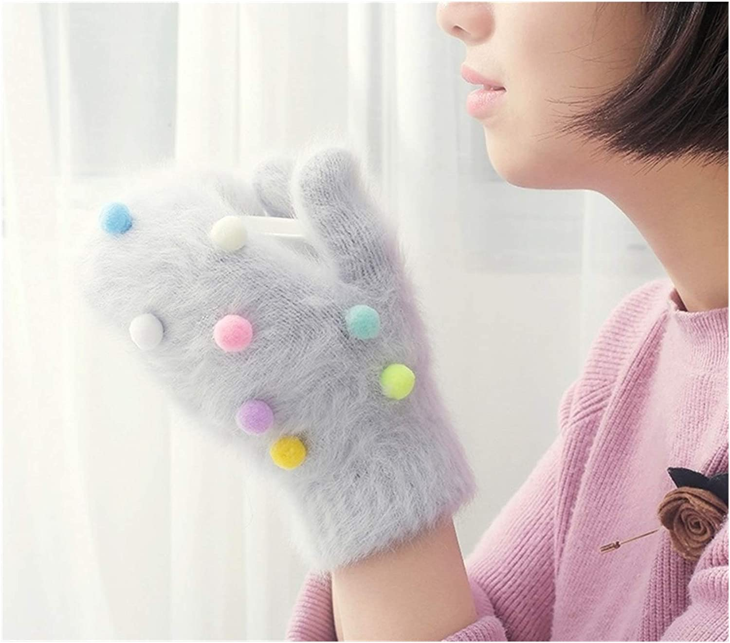 JBIVWW Winter Gloves Women Colorful Ball Gloves Knitted Mittens Female Warm Gloves (Color : Light Grey, Gloves Size : Free Size)
