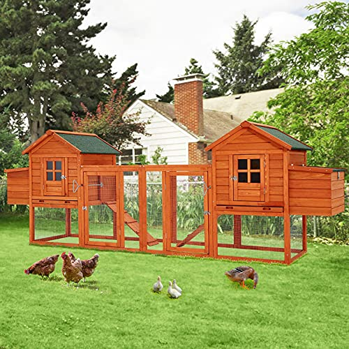 """Esright 144"""" Large Wooden Chicken Coop, Outdoor..."""