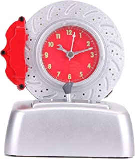 CYXStar Disc Alarm Clock Kids Alarm Clock Battery Operated Cool Car Lover Rotating Tire Bell with Engine Ringer For Bedrooms and Office Desk (DL38(Red))