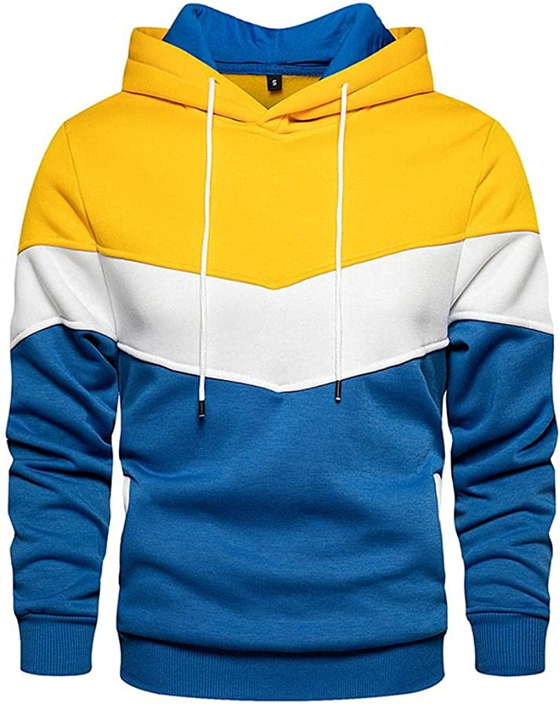 Sweatshirts for Men Pullover Long Sleeve Pullover Drawstring Patchwork Athletic Sweatshirt Gym Hooded Tops
