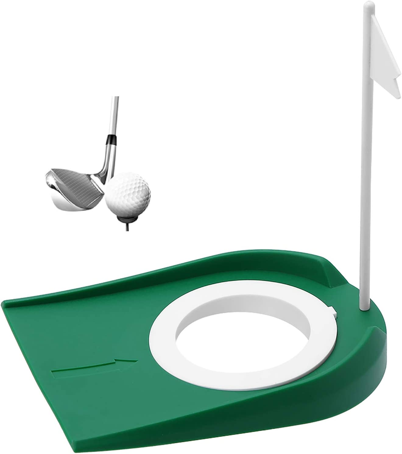Tianhaik Golf Practice Putting Cup Mat with Hole and Flag Plastic for Indoor Outdoor Office Yard
