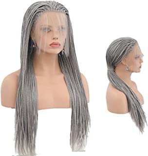 Hair Cap+26'' Braided Lace Wigs Ombre Grey Hair for Women Synthetic Heat Resistant Long Braids Wig Glueless Half Hand Tied (BZ-011 Silver Gray dreadlocks)