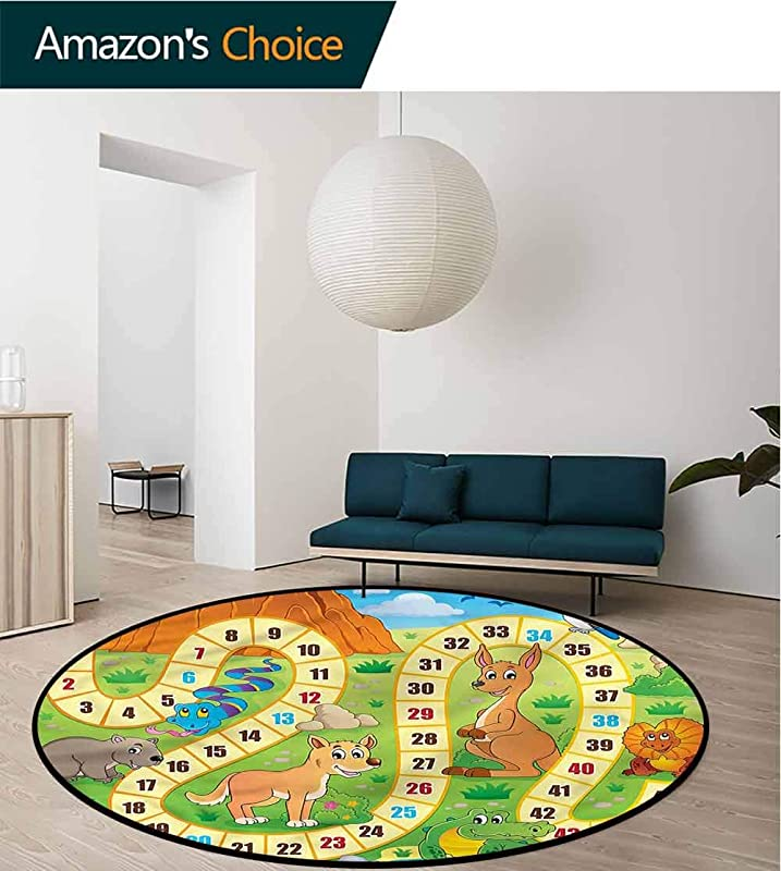 RUGSMAT Board Game Modern Flannel Microfiber Non Slip Machine Round Area Rug Australia Fun Wildlife Floor Mat Home Decor Round 31