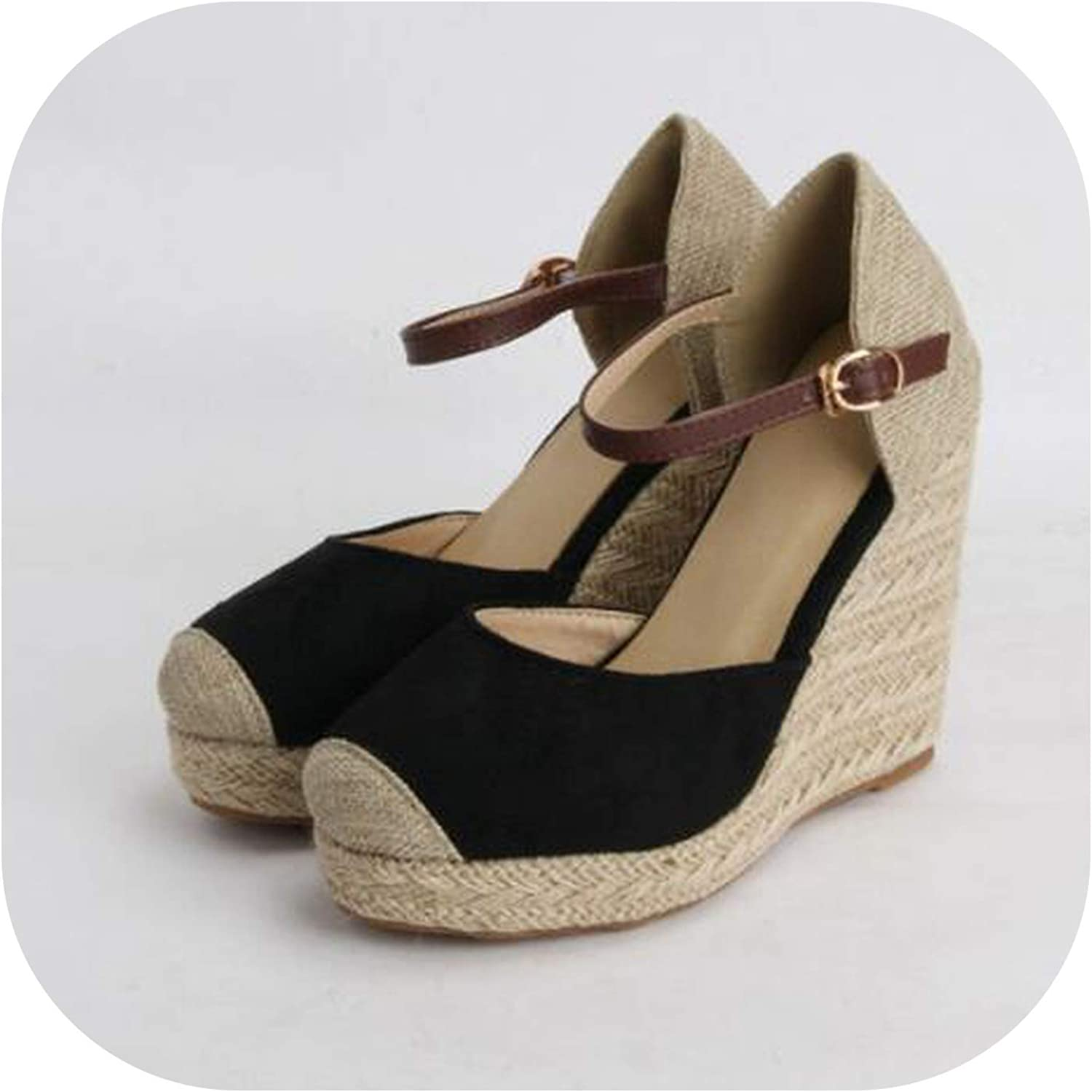 YuJi Women Sandals Summer shoes Platform Wedges Heel Ankle Strap Bohemia Espadrille Sandals,Black,9.5