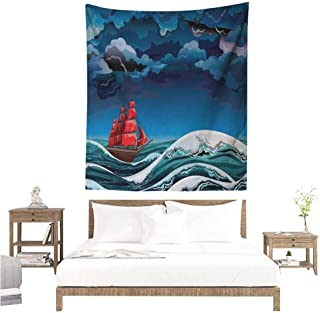 Willsd Nautical Living Room Tapestry Vintage Vessel Sailing in Stormy Weather at Dark Night Majestic Wave Print Occlusion Cloth Painting 51W x 60L INCH Blue Orange Plum