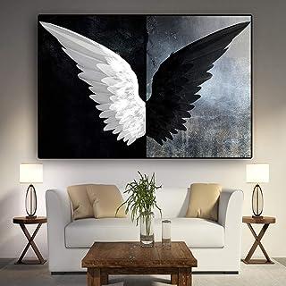 N / A Potenti Ali di Piume in Bianco e Nero Stampa su Tela Poster e Stampe Nordic Wall Art Picture Living Room No Frame