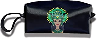 Mini Makeup Bag Native American Indian Girl Portable Cosmetic Bag Sewing Kit Medicine Bag for Home Office Travel Sport