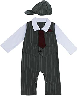 FEESHOW Baby Boys' Gentleman Romper Formal Party Wedding Tuxedo Outfit Suit