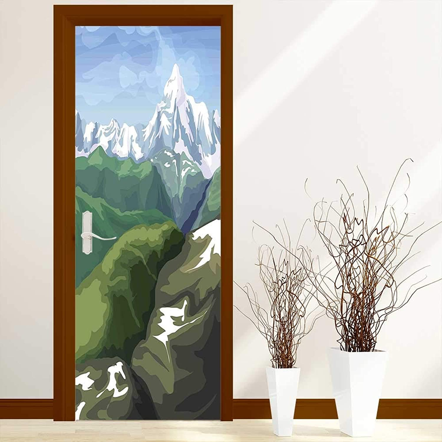 Waterproof Door Stickers Painting Mountain Scenery Snowy Peak and Tres Hills Light bluee White Olive Reseda for Home Living Room W38.5 x H79 inch