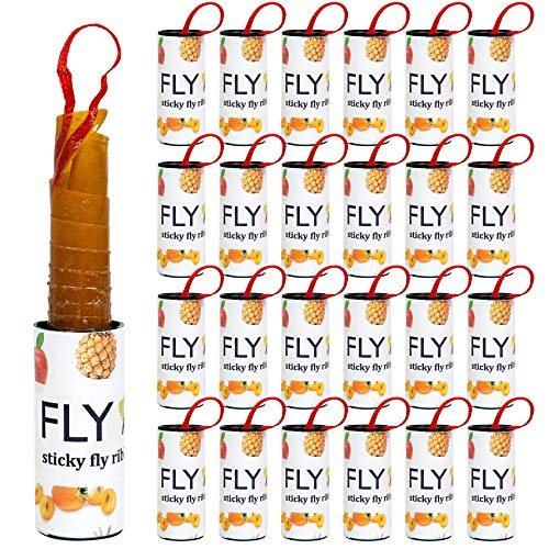 24 Pack Sticky Fly Ribbon, Fruit Fly Traps, Fly Strips Catcher Indoor, Safe and Effective