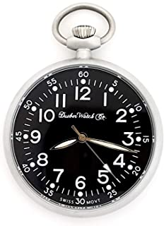 Dueber Military Style Pocket Watch with Black Dial, Lumious Hands, Satin Chrome Steel Case