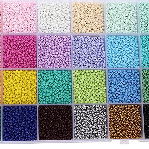 14000 piezas 28 colores 2 mm cuentas de vidrio, pequeñas manualidades, cuentas redondas, fabricación de joyas, cuentas de pelo para pulseras de bricolaje, kit de suministros para hacer pendientes