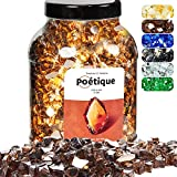 Motovecor Reflective Fire Glass for Natural or Propane Fire Pit, Amber Copper High Luster Tempered Fire Gems 4.5kg/10lb 12.5mm Safe for Outdoor and Indoor Landscaping